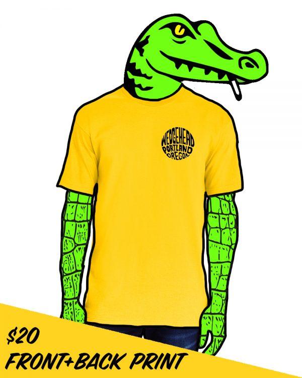 Wedgehead teeshirt on model with alligator head