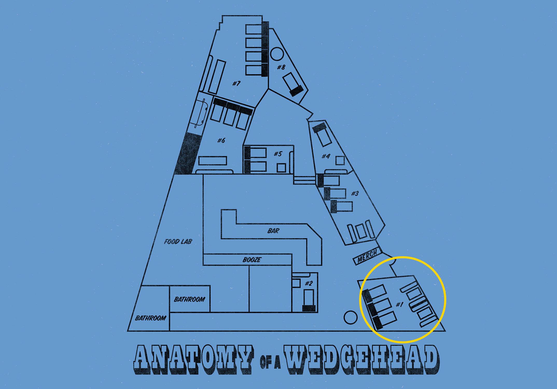 Wedgehead PDX pinball machine floor plans